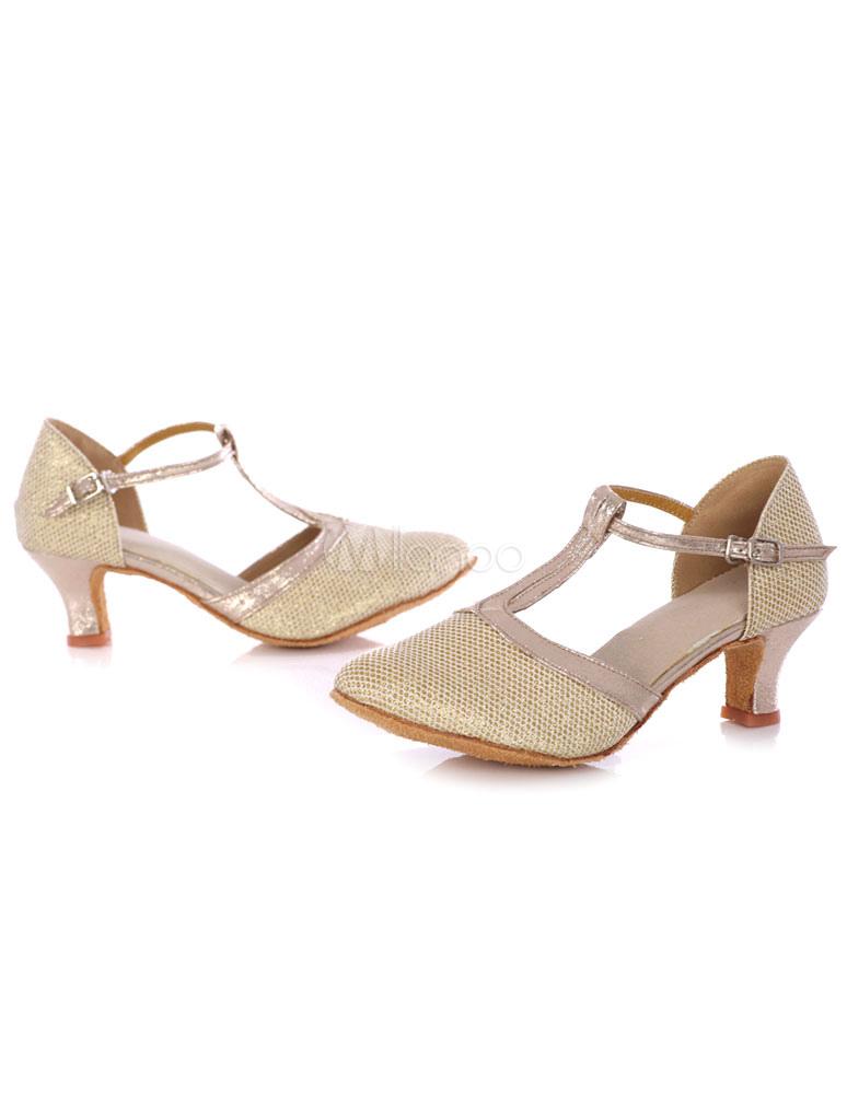 Zapatos baile latino zapatos de dedo del pie redondo lentejuelas XDicSUbBR