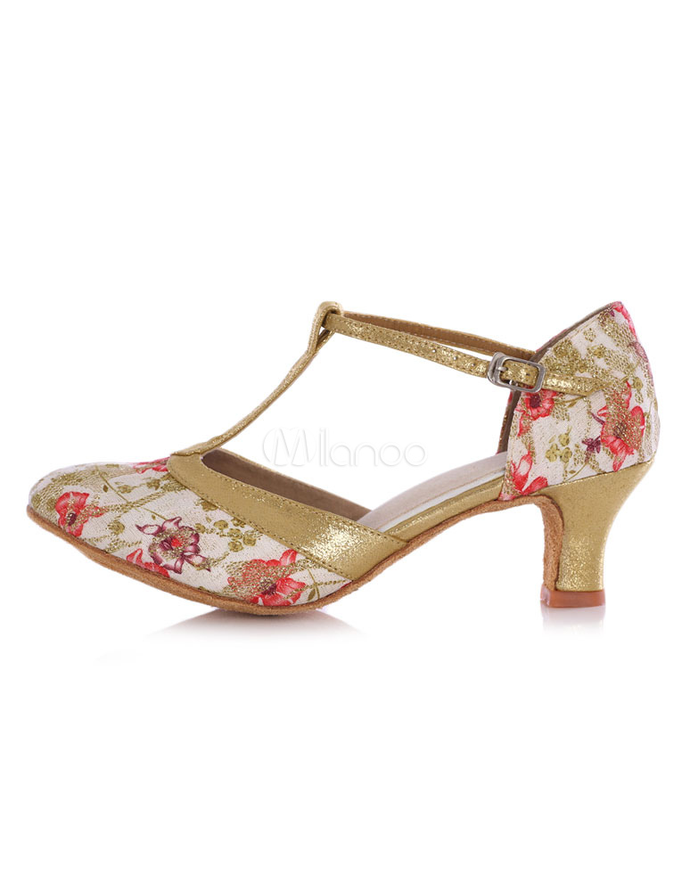Ballroom Dance Shoes Women's Round Toe Floral Print T-strap High Heel Shoes