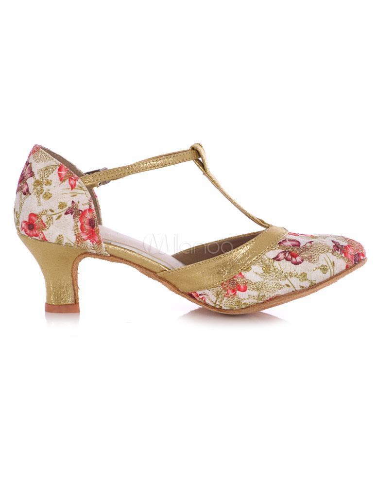 Zapatos de baile puntera redonda correa impresión Floral zapatos del alto talón de la mujer fGu7w