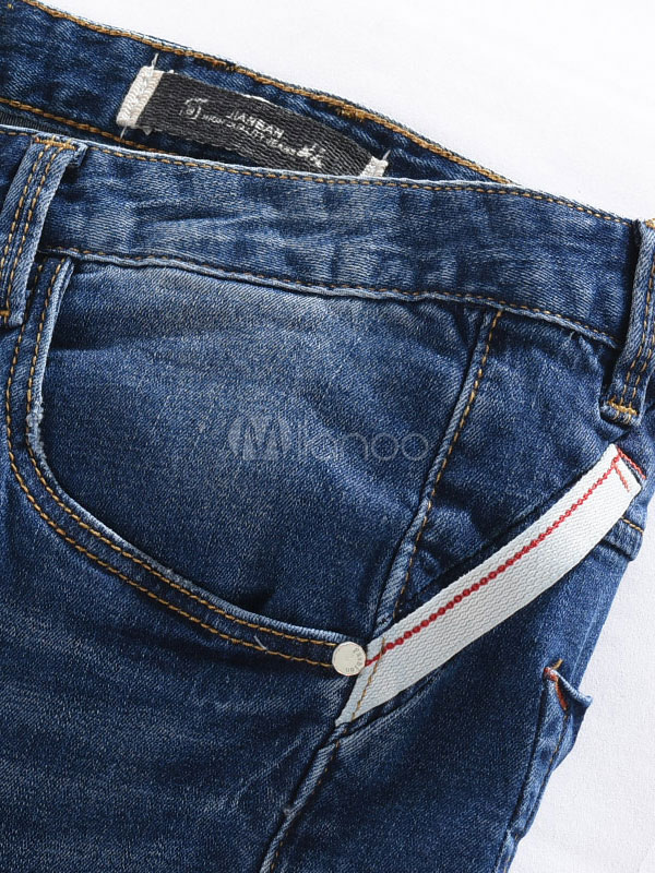 herren zerrissene jeans blau street wear gerade jeans. Black Bedroom Furniture Sets. Home Design Ideas
