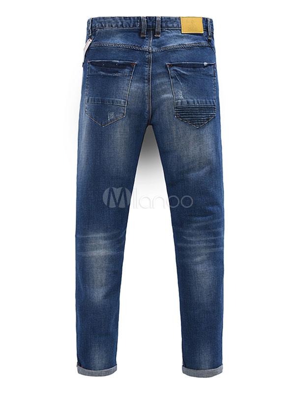 Herren zerrissene jeans blau street wear gerade jeans - Zerrissene jeans herren ...
