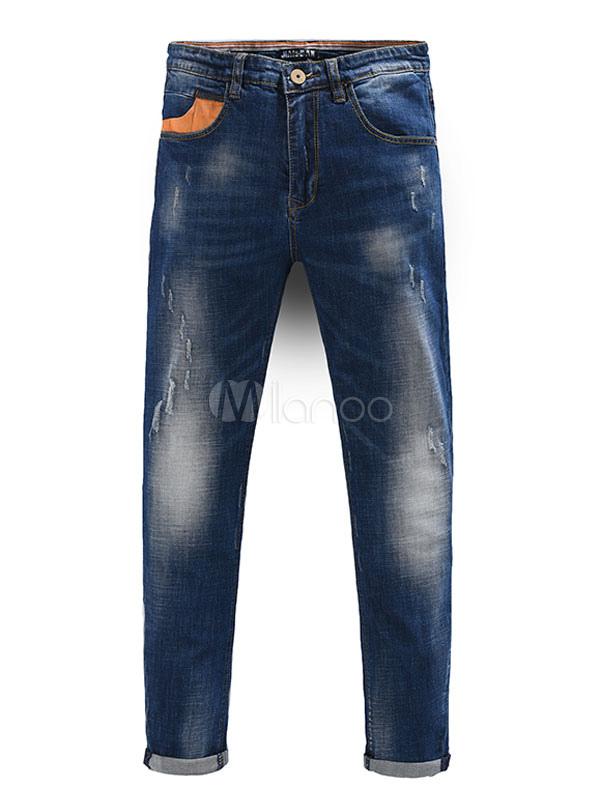 8e7d3cc868 Jeans calle de hombres azules usa pantalones de mezclilla recto-No.1 ...