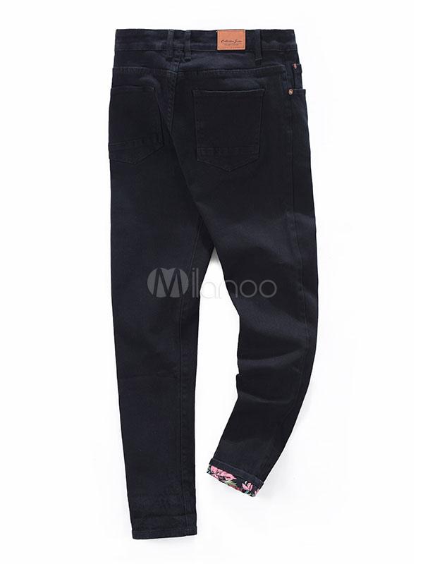 schwarze skinny jeans m nner gerade gedruckt moderne denim jeans. Black Bedroom Furniture Sets. Home Design Ideas