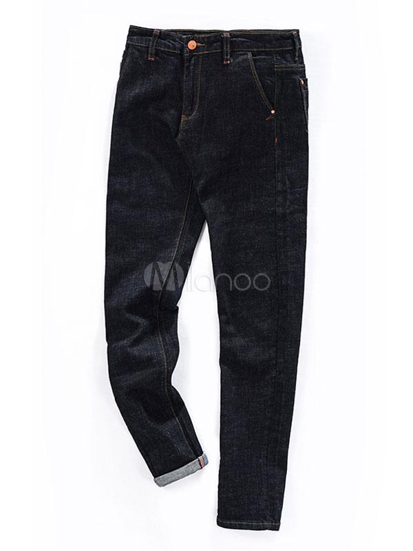 Buy Men's Black Jeans Pockets Detail Modern Straight Skinny Denim Jeans for $27.99 in Milanoo store