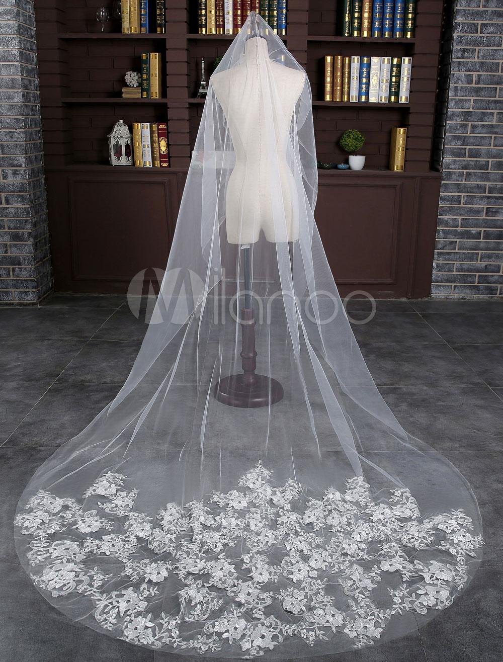 c775b12f9 Encaje la boda de un solo nivel velo tul marfil gota corte borde de velo de  novia Catedral con peine - Milanoo.com