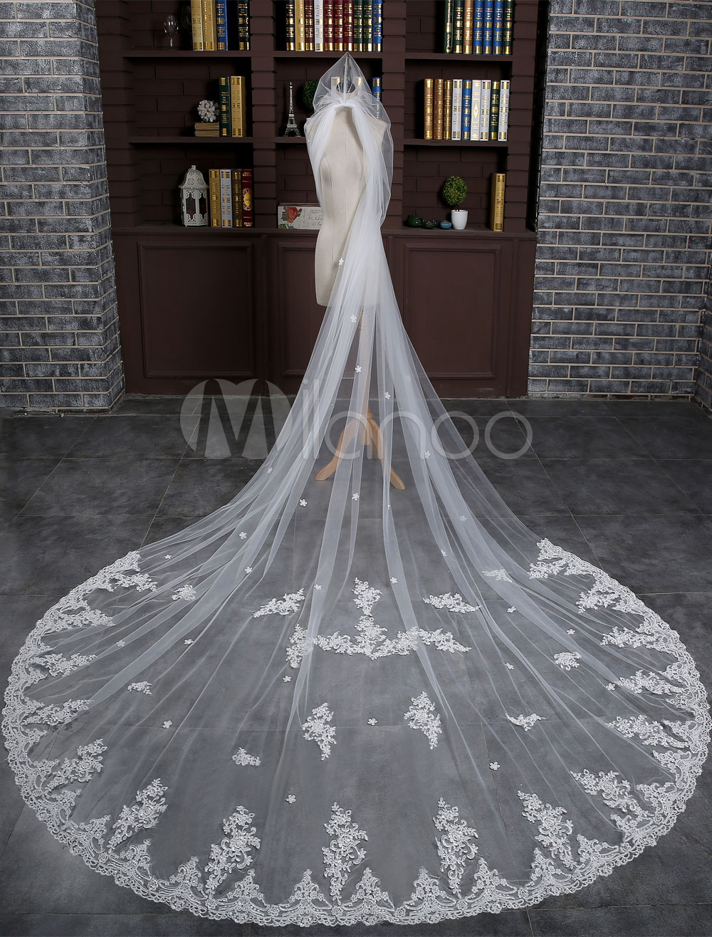 Ivory Wedding Veil Cathedral Lace Applique 1-Tier Long Bridal Veil With Comb(300cm*300cm )