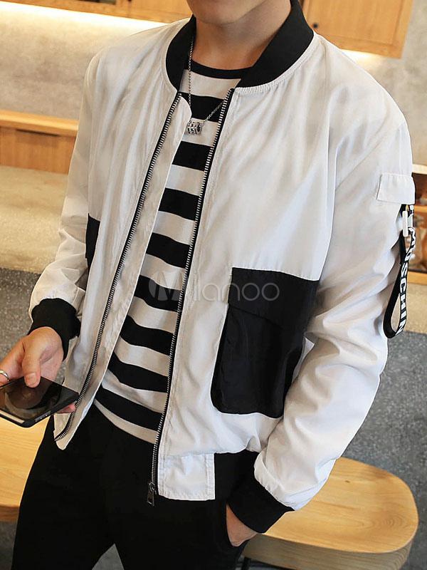 ... Abrigos y chaquetas de bombardero chaqueta negra manga larga cremallera  hombre-No.2 ... d5180e778184d
