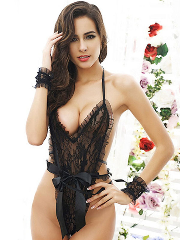 Black Lace Teddy Women's Bow Backless Teddy And Ribbon Handcuffs