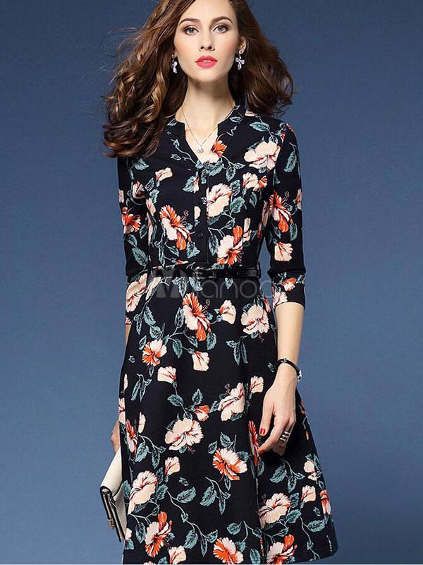 Flare vestido skatista preto vestido Floral impressão meia manga feminino  com cinto-No.1 ... fe766e0db772