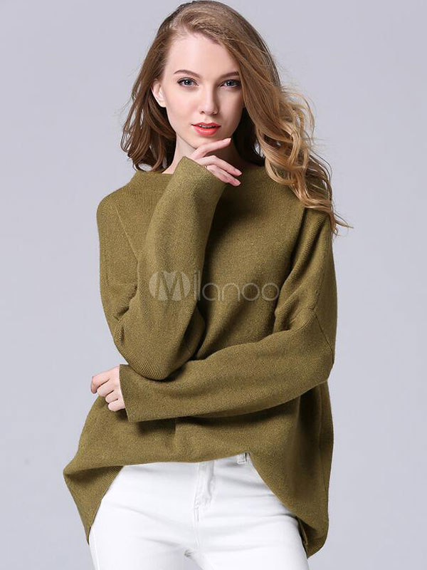 Women's Knit Sweaters Scoop Neckline Casual Pullover Sweaters