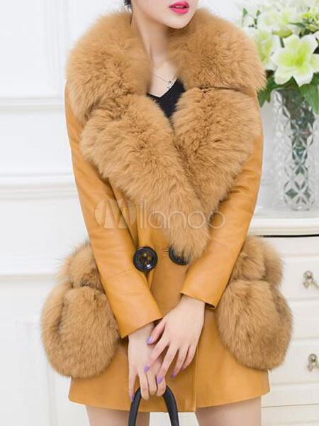 Faux Fur Coat Women's Yellow Long Sleeve PU Leather Turndown Collar Button Winter Coat With Pockets Cheap clothes, free shipping worldwide