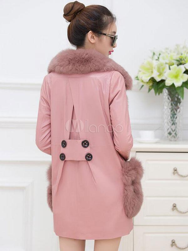 Manteau femme avec col fausse fourrure