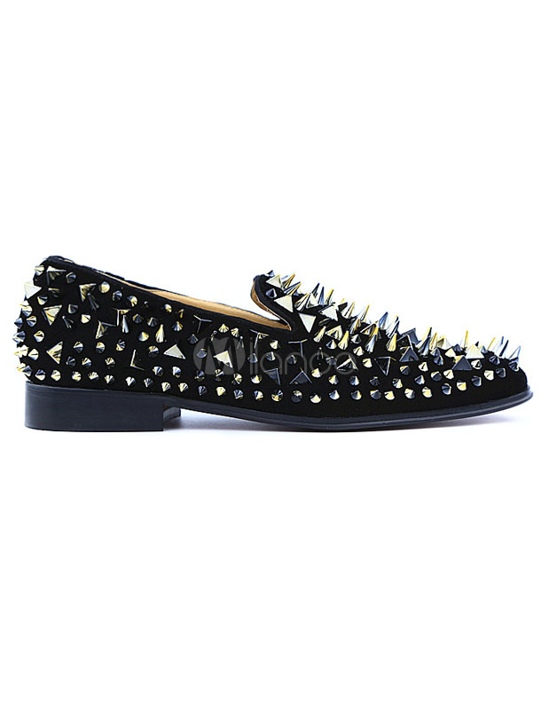Black Spike Shoes 2018 Leather Men Loafers Square Toe