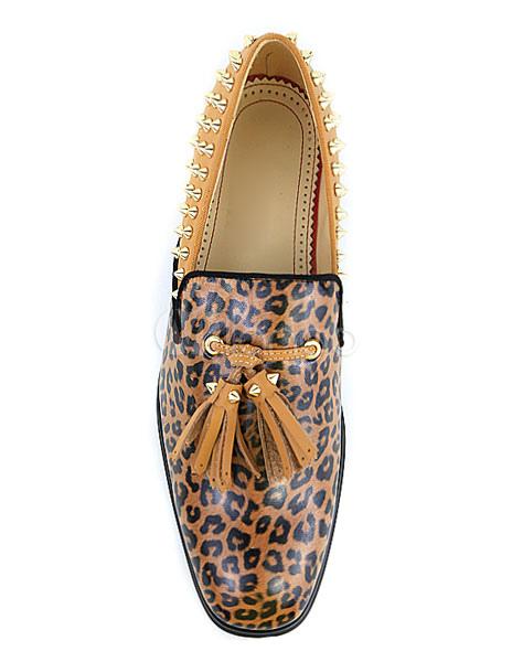 Leopard Slipper Herren Quaste Loafer Schuhe Spike Schuhe Slip On Leder Schuhe