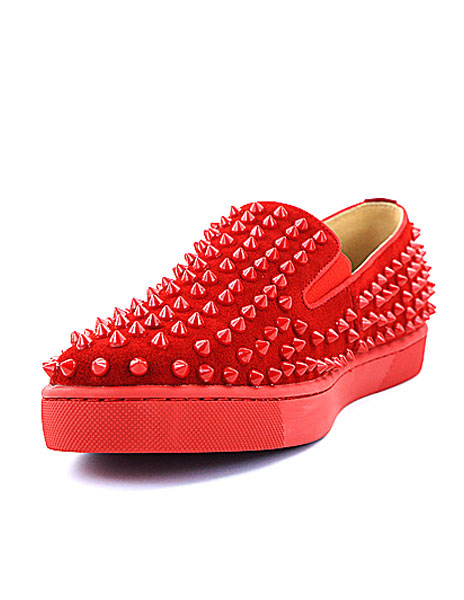 2259cf32bca Men Loafers Leather Round Toe Slip On Shoes Red Loafers With Spikes-No.1 ...