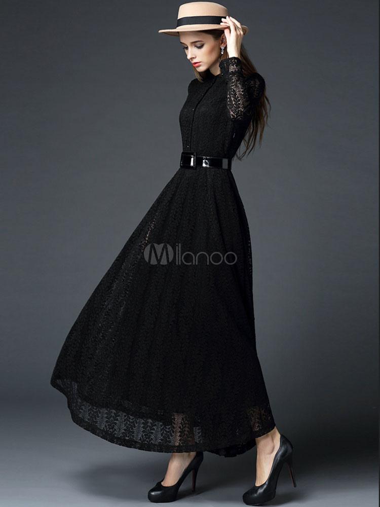 big sale 78637 65502 Velato Donna Slim Camicia Vestito Nero Semi Lungo Abito Da ...