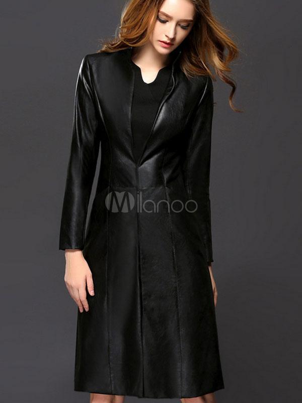 official photos 10830 916c2 Manica lunga Stand collare francese ecopelle nero cappotto donna gancio di  cappotto di pelle di PU