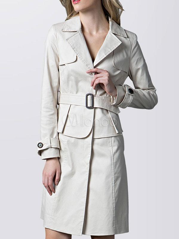 Weißen Trenchcoat Langarm Mantel Turndown Damen Button Gürtelschnalle Kragen dBCexo
