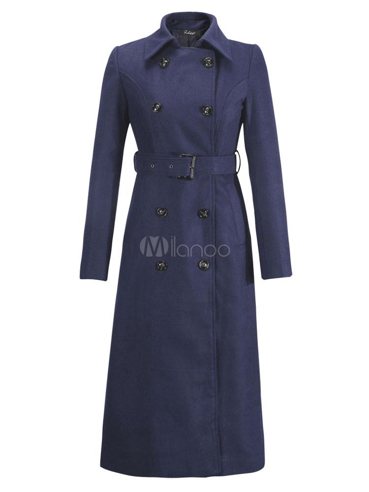Cappotto donna cintura nero Peacoat manica lunga collo Turndown doppiopetto Wrap