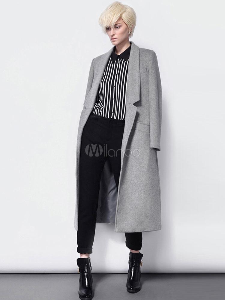 klassische Schuhe Neueste Mode Designermode Graue Boyfriend Mantel Damen Langarm Turndown Kragen langer Mantel mit  Taschen