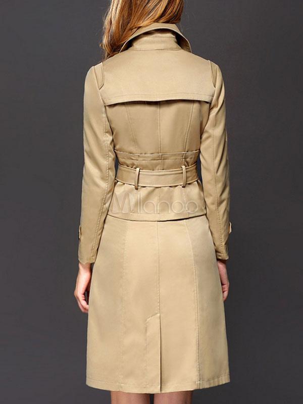 damen trenchcoat khaki langarm kentkragen g rtel double breasted mantel. Black Bedroom Furniture Sets. Home Design Ideas