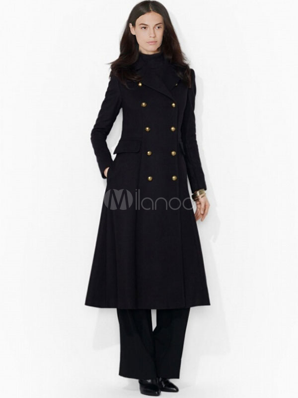 Black Women's Peacoat Long Sleeve Turndown Collar Double-breasted Button Overcoat Cheap clothes, free shipping worldwide