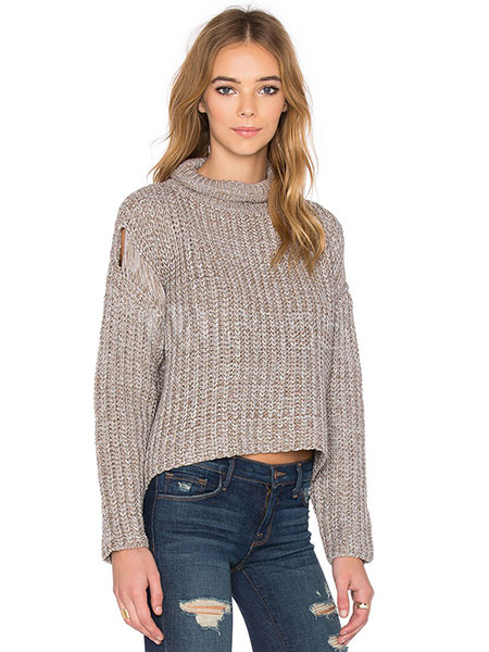 Milanoo / Khaki Knit Sweaters Turndown Collar High Low Cut-Outs Pullovers For Women