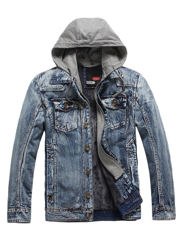 Men S Denim Jacket Black Blue Wash Hooded Jean Jacket Milanoo Com