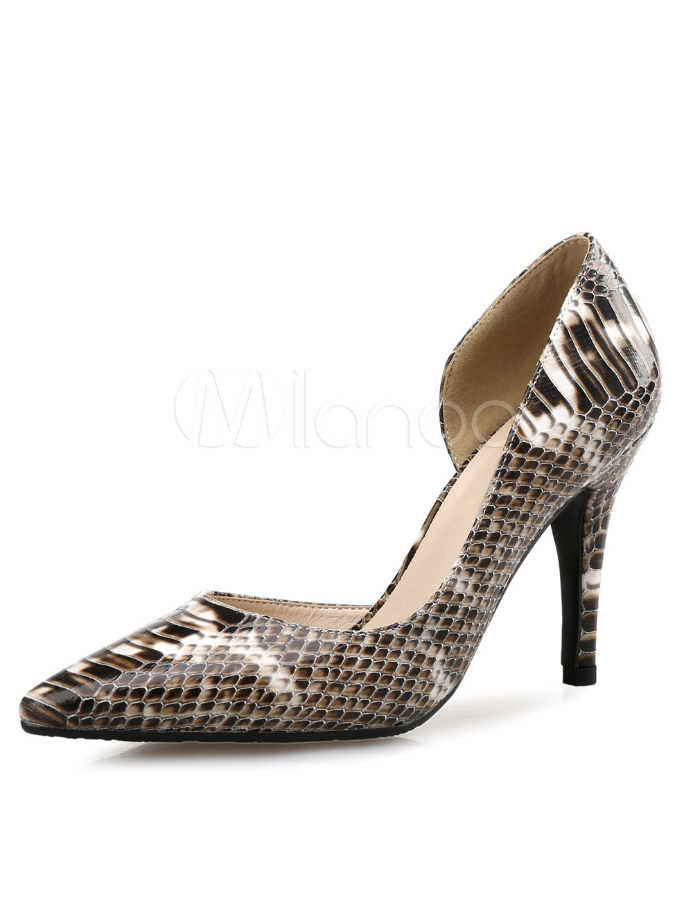 Buy Pointed High Heels Snake Print PU Leather Women's Slip-On Pumps Shoes for $34.19 in Milanoo store