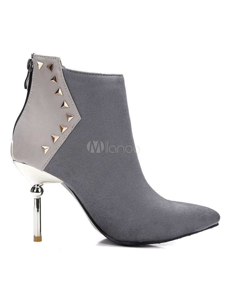 Nero alla caviglia stivali tacco alto puntata rivetti Stivaletto camoscio elegante donna di