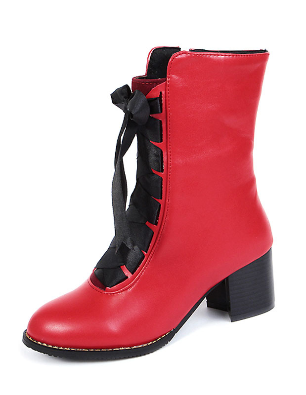 Botines blanco PU cuero botas cortas de tacón grueso con encaje de la mujer bWy4kv