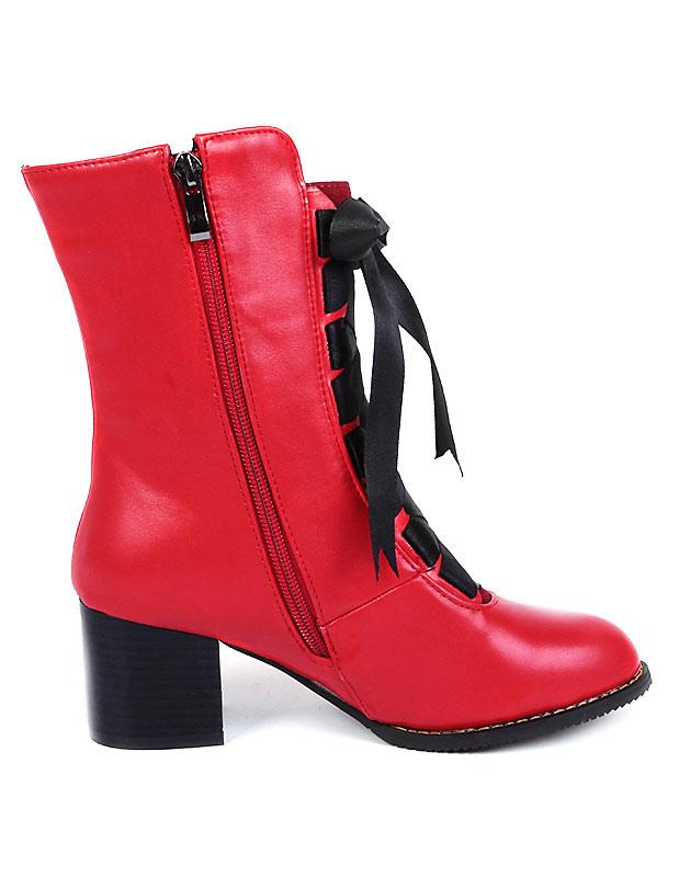Botines blanco PU cuero botas cortas de tacón grueso con encaje de la mujer 28mK1A3fAc
