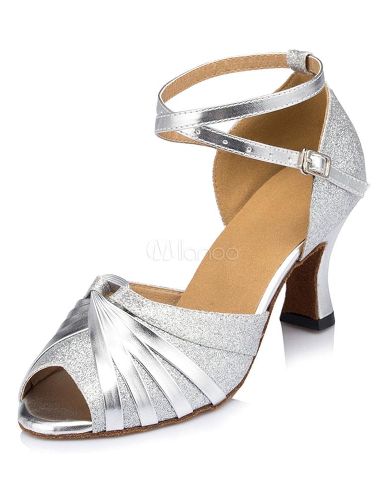 Torcido tobillo correa tacón salones zapatos oro danza zapatos Peep mujeres StMXqHx