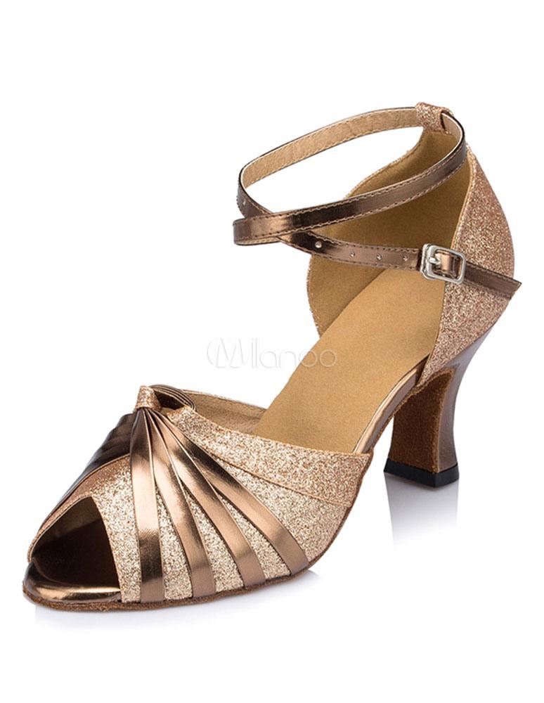 Zapatos de baile latino Zapatos de baile de mujeres Peep Toe Zapatos de salón de correa de tobillo J2ZJpK65
