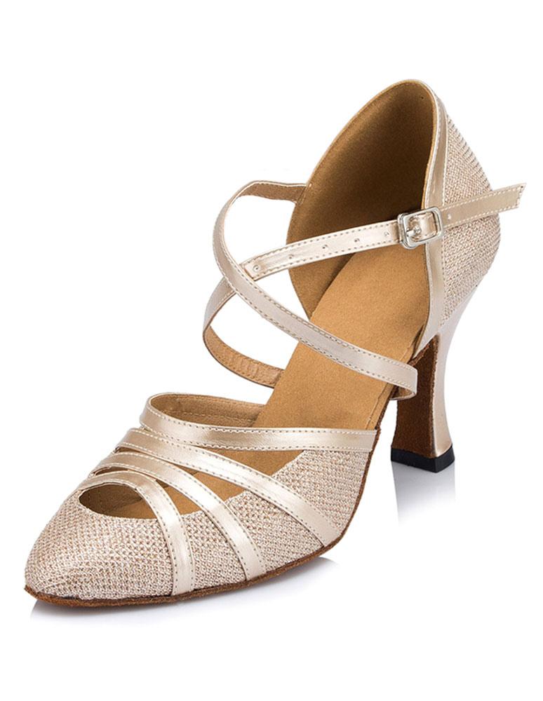 Zapatos baile latino champán Peep tacón alto se entrecruzan salón de baile 6APNeipl