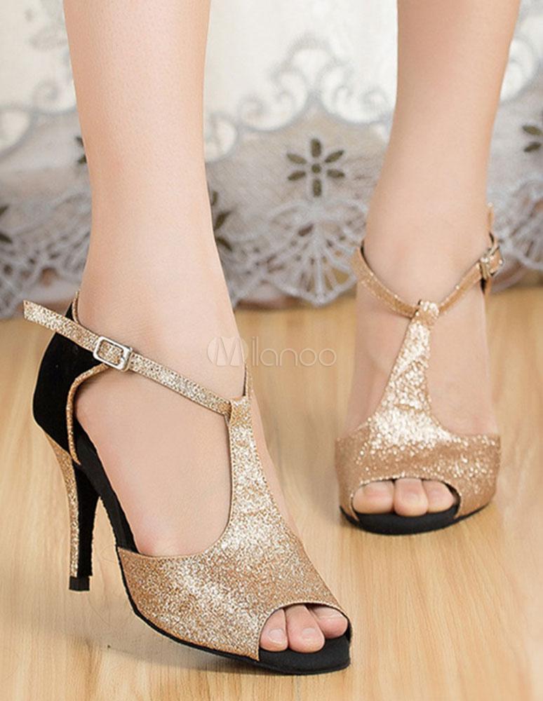 Zapatos baile latino champán zapatos de salón zapatos del alto talón de las mujeres Peep T-strap jO0GfqEO4r