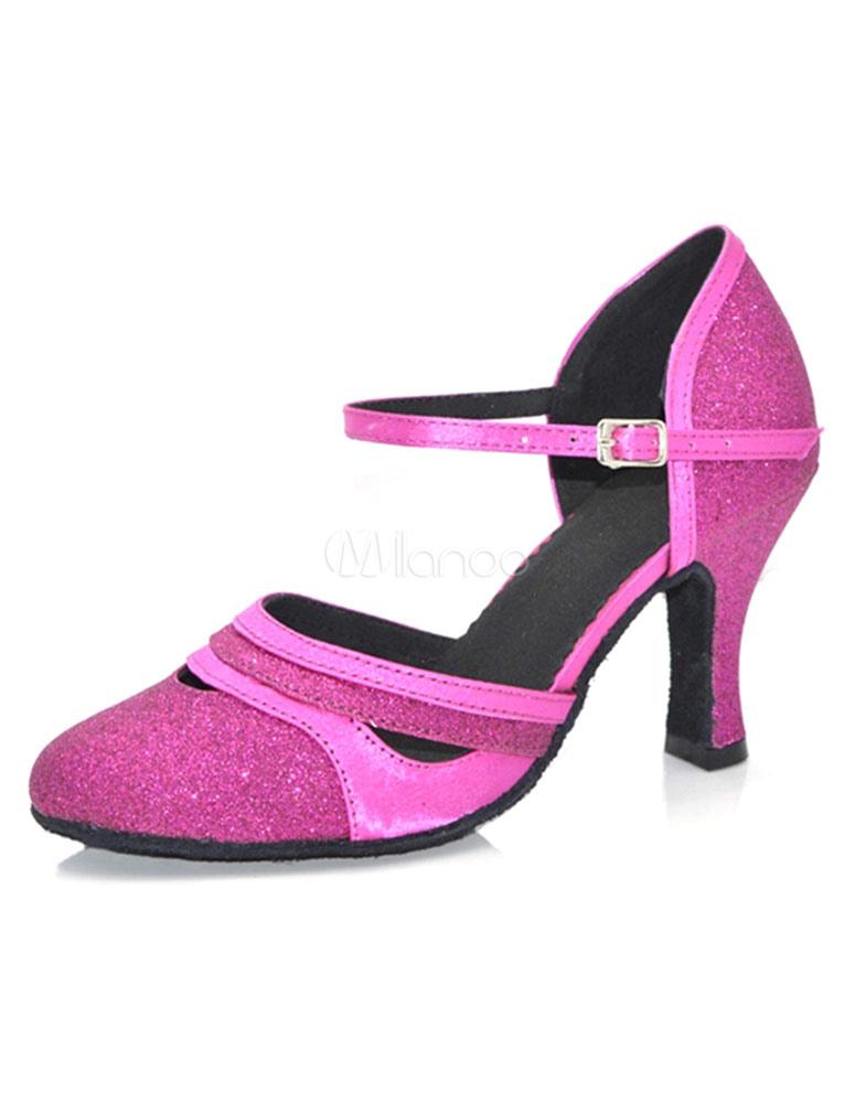 Brillo zapatos de baile tobillo correa d ' Orsay estilo tacones zapatos de salón de baile de mujeres p2hIz
