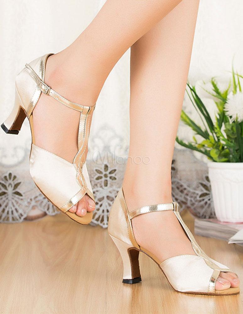 Pío zapatos Correa T-zapatos de baile de Satén de tacón de las mujeres jLSM0DQA