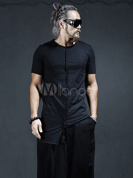 T Coton Shirt Punk Blancnoir Homme Haute Basse Style Fit FJTcK13l