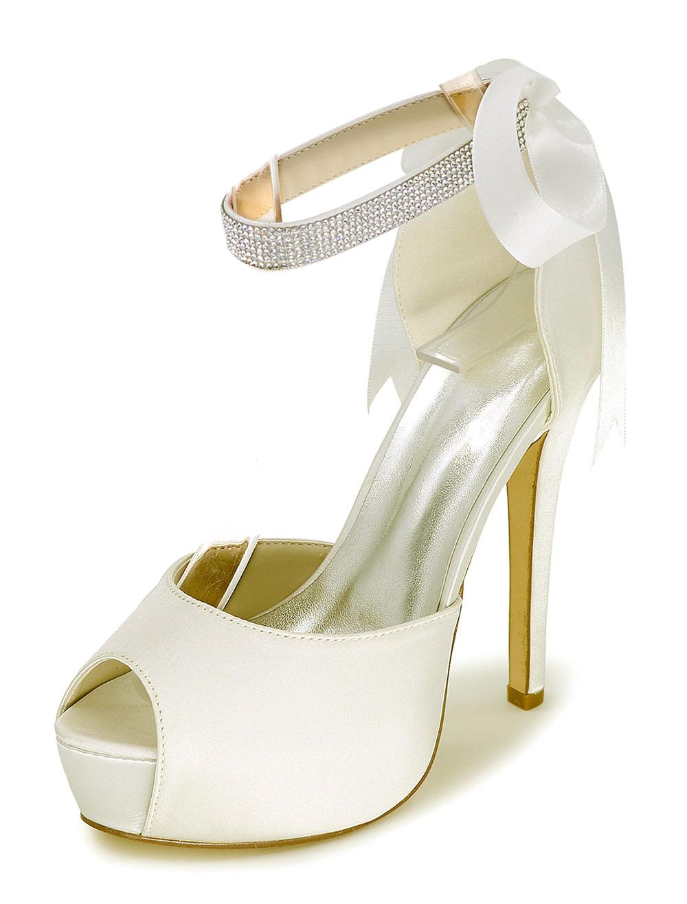 Peep Wedding Shoes Platform Sandals Women's High Heel Ankle Strap Rhinestones Satin Bridal Shoes