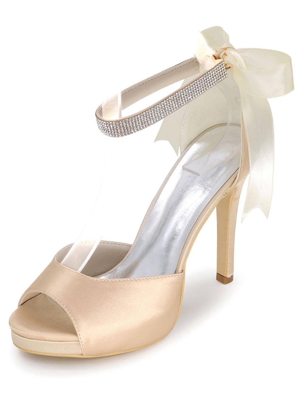 Platform Wedding Shoes Satin Sandals Women's High Heel Ankle Strap Stiletto Bridal Shoes