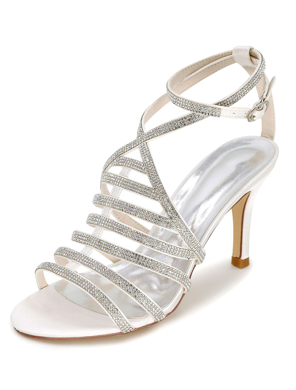 White Wedding Shoes Gladiator Sandals Women's High Heel Rhinestones Ankle Strap Bridal Shoes