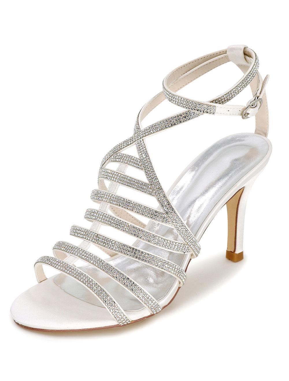 8e20bc25f1e91 White Wedding Shoes Gladiator Sandals Women s High Heel Rhinestones Ankle  Strap Bridal Shoes - Milanoo.com
