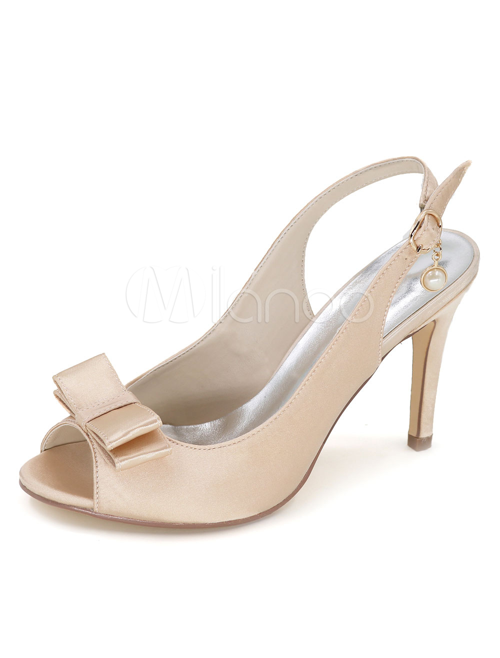 Peep Wedding Shoes Women's Bows Satin High Heel Shoes