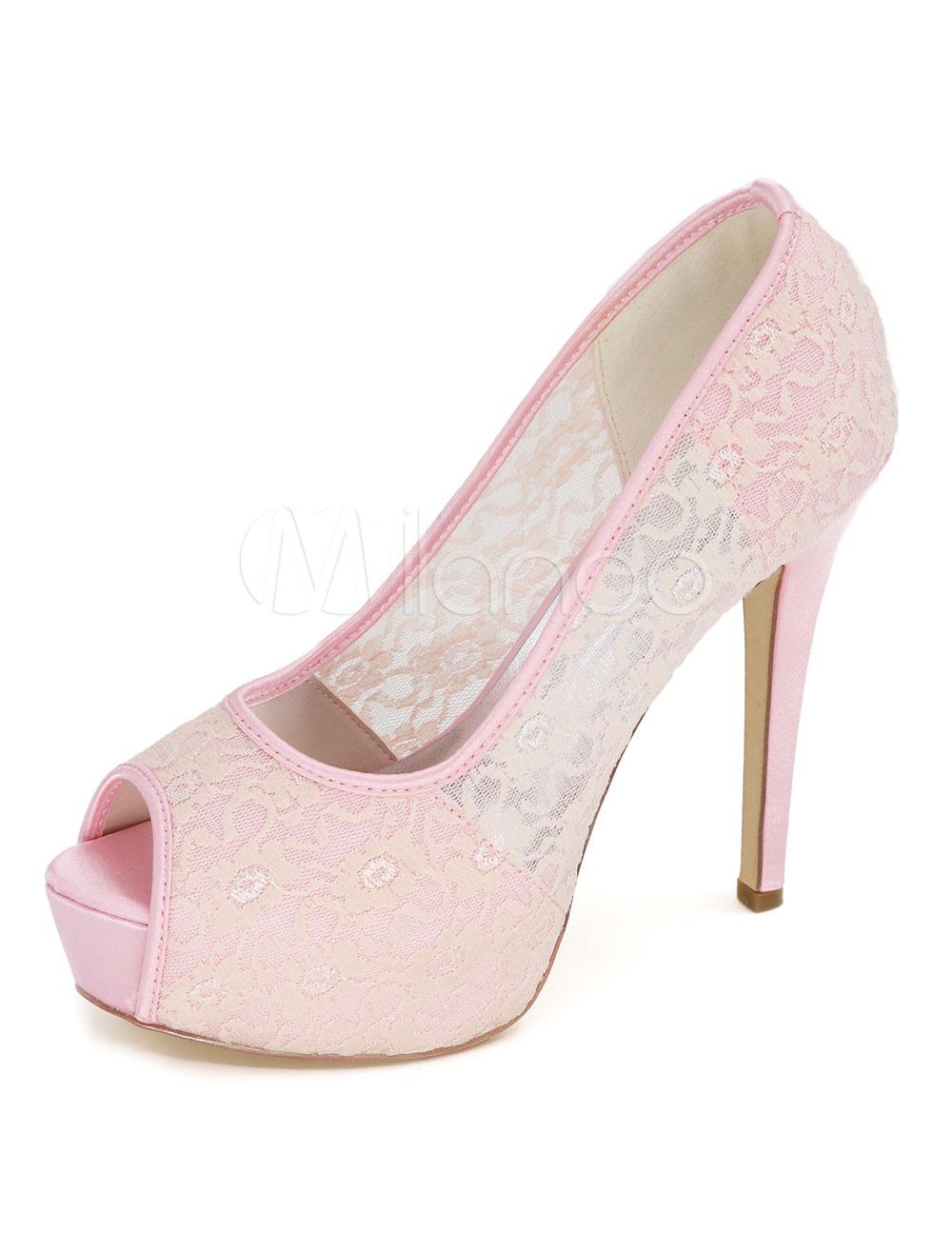 Platform Wedding Shoes Pink Lace Mesh Peep Toe Slip On High Heel Bridal Shoes