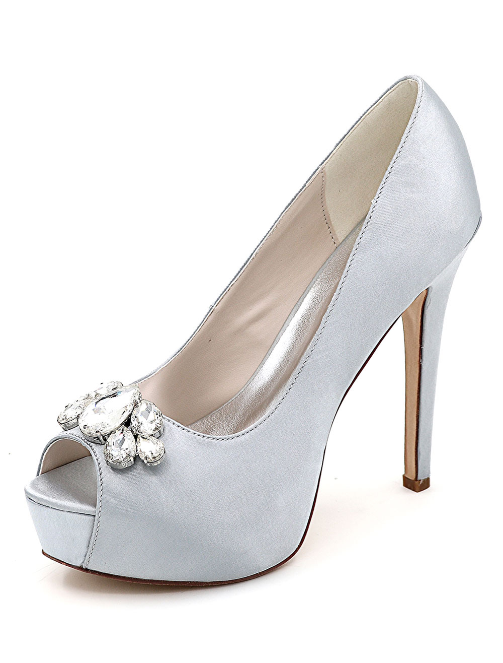 Buy Silver Wedding Shoes Platform Peep Toe Rhinestone Slip On High Heel Bridal Shoes for $43.99 in Milanoo store