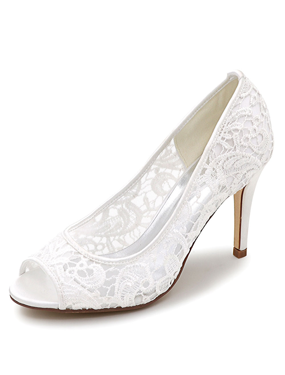Lace Wedding Shoes Peep High Heel Bridal Shoes