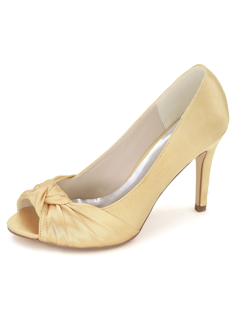 Peep Wedding Shoes Twisted Detail Satin High Heel Bridal Shoes