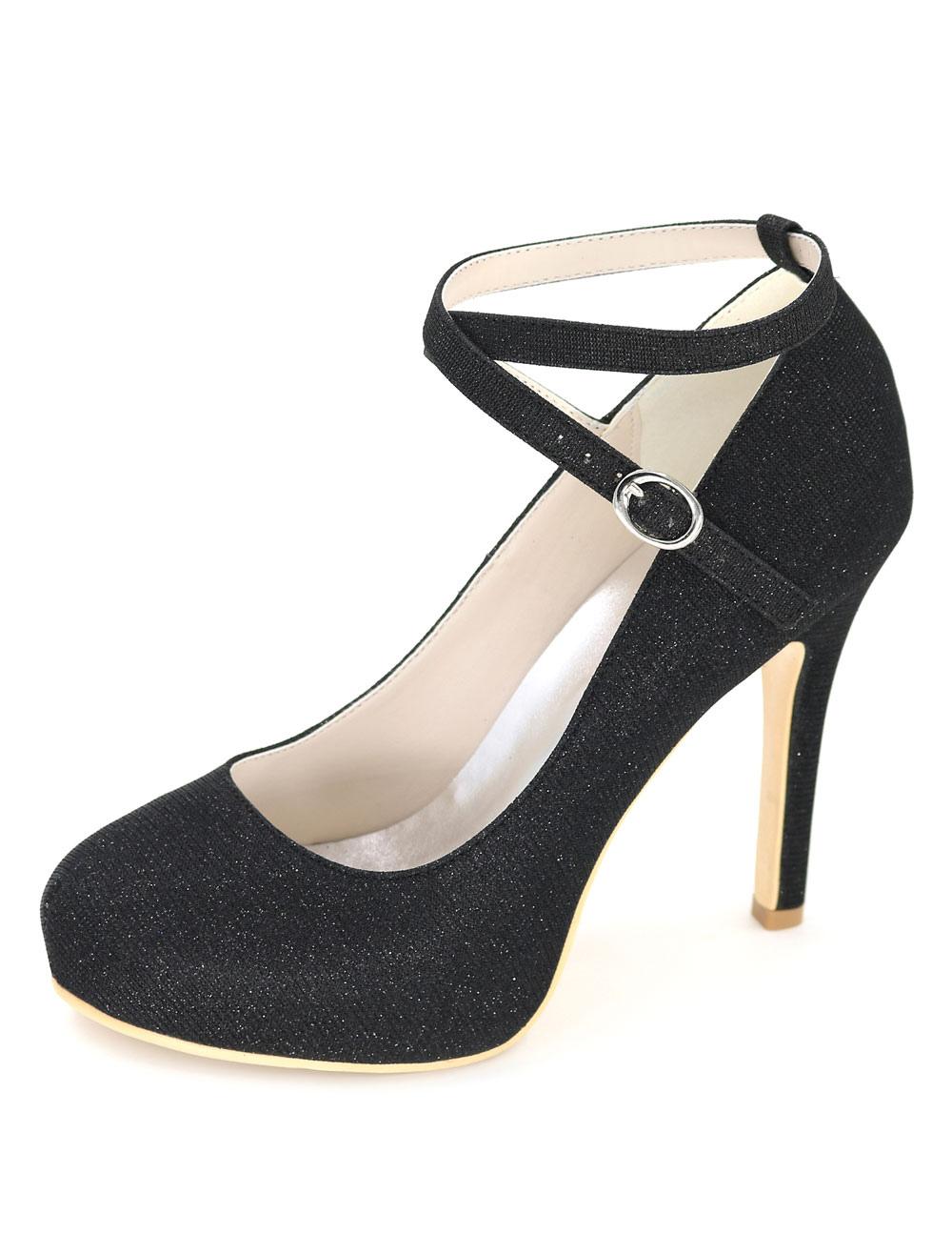 Black Wedding Shoes Platform High Heels Glitter Women's Ankle Strap Stiletto Bridal Shoes