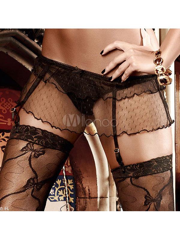 f499177c9 Cinta-liga preta com tule Sexy T-costas para mulheres - Milanoo.com
